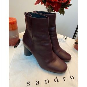 Sandro Leather Ankle Boots Size 37
